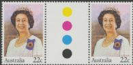 SG 741 22c Queen Elizabeth II colour control circle gutter pair (AF1/199)